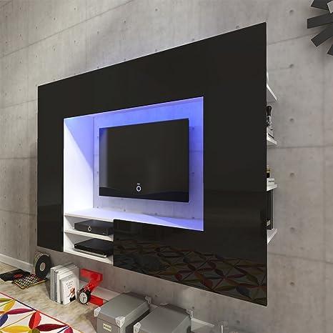 Festnight Mueble de Pared para Televisión Mueble Salón Moderno 169,2 cm con LED Negro