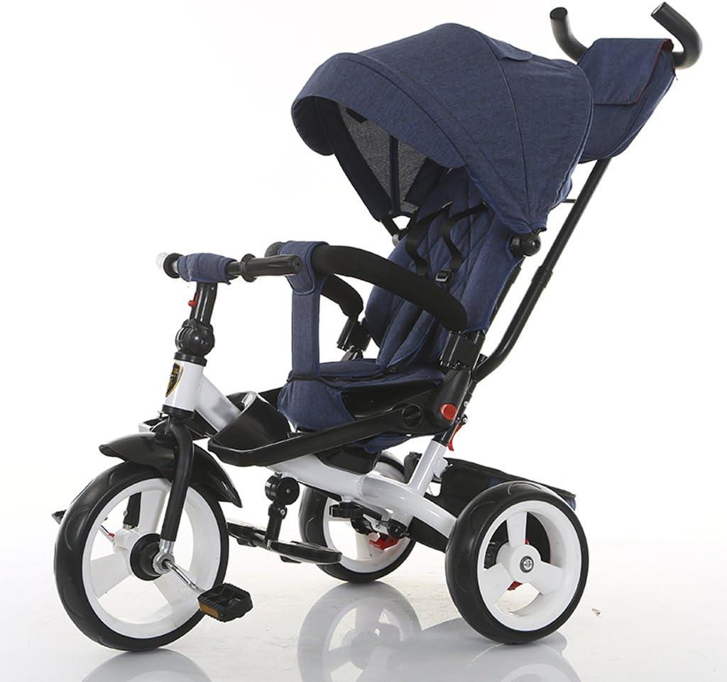 Cochecitos Trike/Triciclo reclinable y Giratorio de 360 ° para niños en Triciclo de 360 ° con toldo Solar y Barra de manija extraíble para Empujar Carrito Bebé (Color : E)