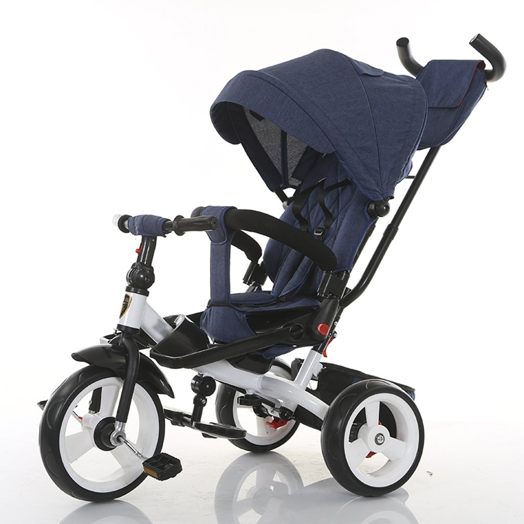 Strollers Baby Detachable Height Adjustable Push Handle Children Pedal Trike Bike Creative Rotatable Seat Kids Tricycle (Color : Blue)
