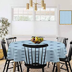 """36"""" Round Tablecloths,Picnic Table Tablecloth,Shark,Ocean Life Pattern in Blue Shades Wildlife Under The Sea Saltwater Fauna,Navy Blue Pale Blue"""