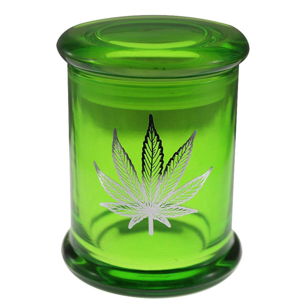 Marijuana Pot Leaf Stash Jar 420 Airtight Pop Top Glass Smellproof Medical Flower Storage 6oz