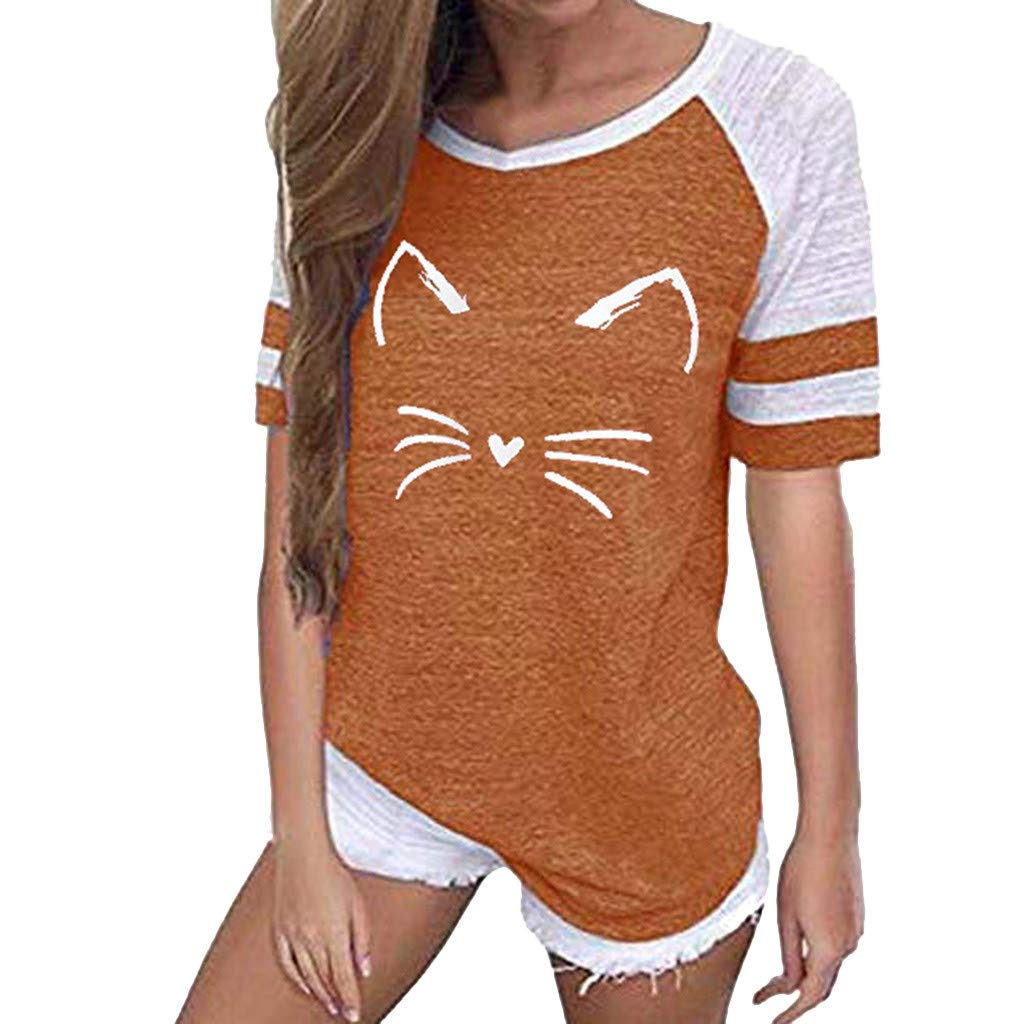 〓COOlCCI〓Women's Summer Tops Casual Cotton V Neck Cat Print Sport T Shirt Short/Long Sleeve Blouse Shirt Tees Orange by COOlCCI_Womens Clothing