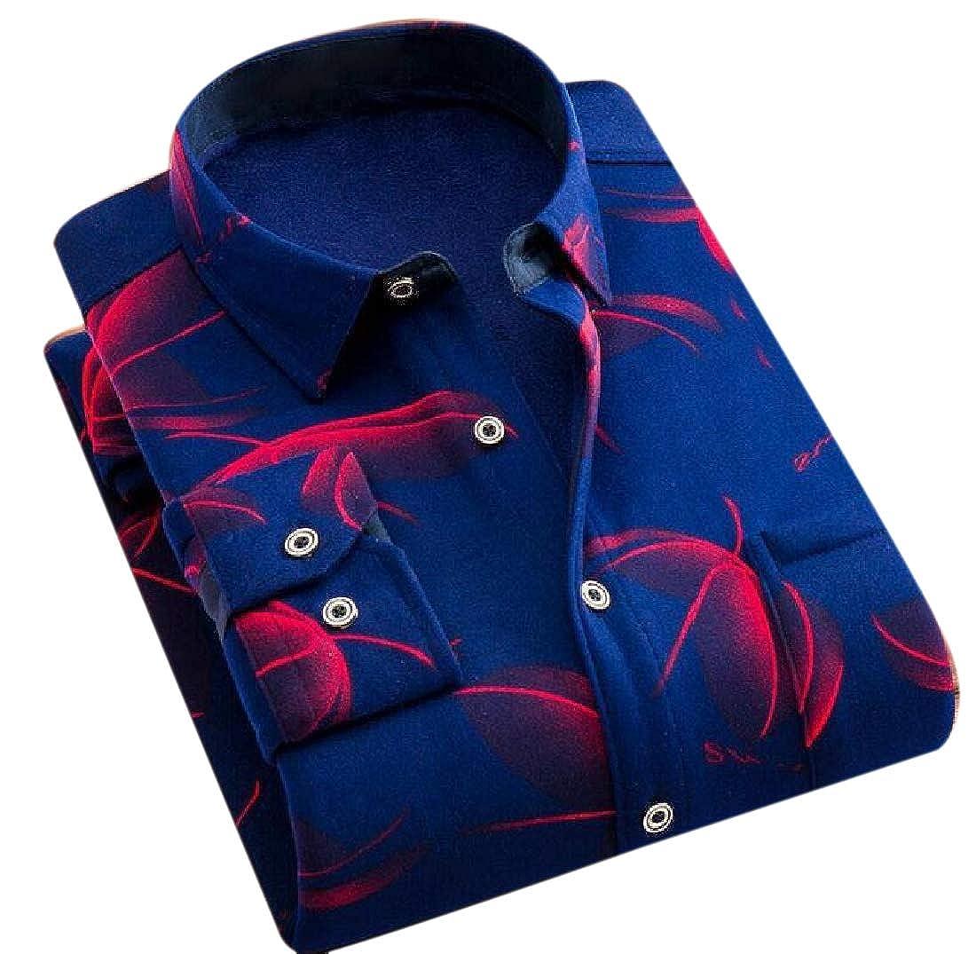 YUNY Men Slim-Fit Thicken Button Long Sleeve Brumal Fleece Western Shirt 8 3XL