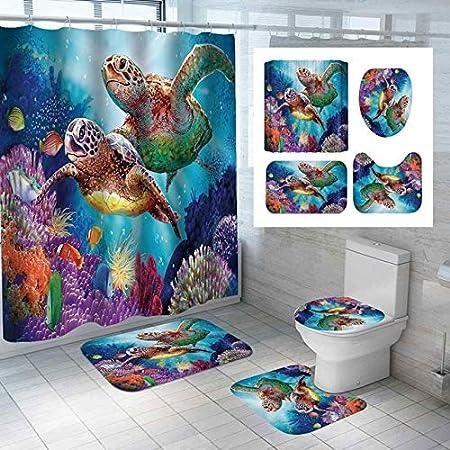 Blue Dolphin Fashion/_Man 4PCS Fantasy Dolphin Shower Curtain Waterproof Fabric Cloth Polyester Bath Curtain Bathtub Curtains 4pcs Kids Bathroom Decor Non-Slip Bathroom Rug Bath Mat Toilet Rug