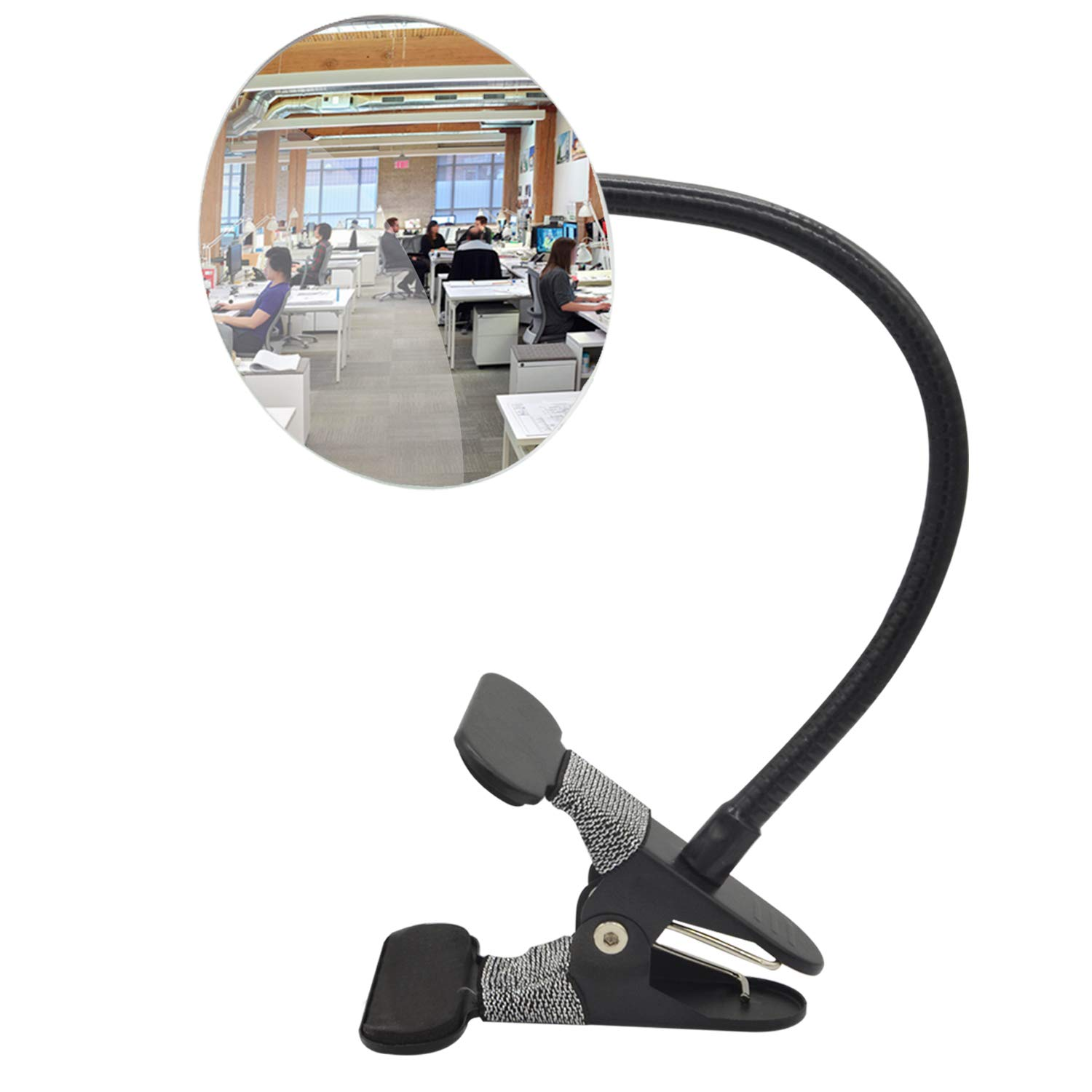 "Ampper Clip On Security Mirror, Convex Cubicle Mirror for Personal Safety and Security Desk Rear View Monitors or Anywhere (3.35"", Round)"