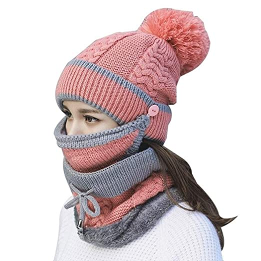 0d87addefd7 Image Unavailable. Image not available for. Color  MIOIM 3PC Womens Girls  Knit Beanie Scarf Mask Set Soft Warm Fleece Lined Winter Ski Hat