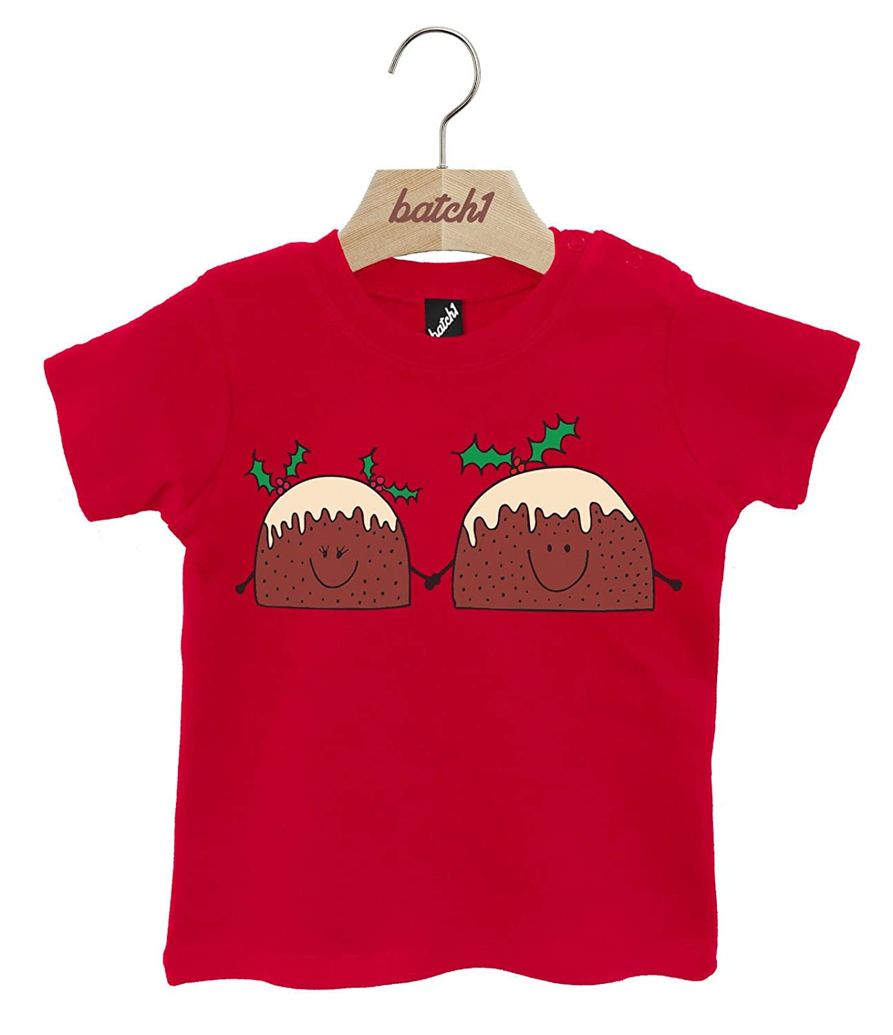 64c82a2f5024e Amazon.com: Batch1 Cute Mr & Mrs Xmas Pudding Festive Christmas Popper Neck  Baby T-Shirt: Clothing