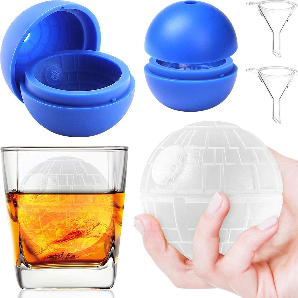 Silicone Star Wars Death Star Ice Cube Mold Tray, Star Wars Chocolate Molds, Star Wars Ice Molds for Whiskey or Cocktails, Reusable and BPA Free (2Pack)