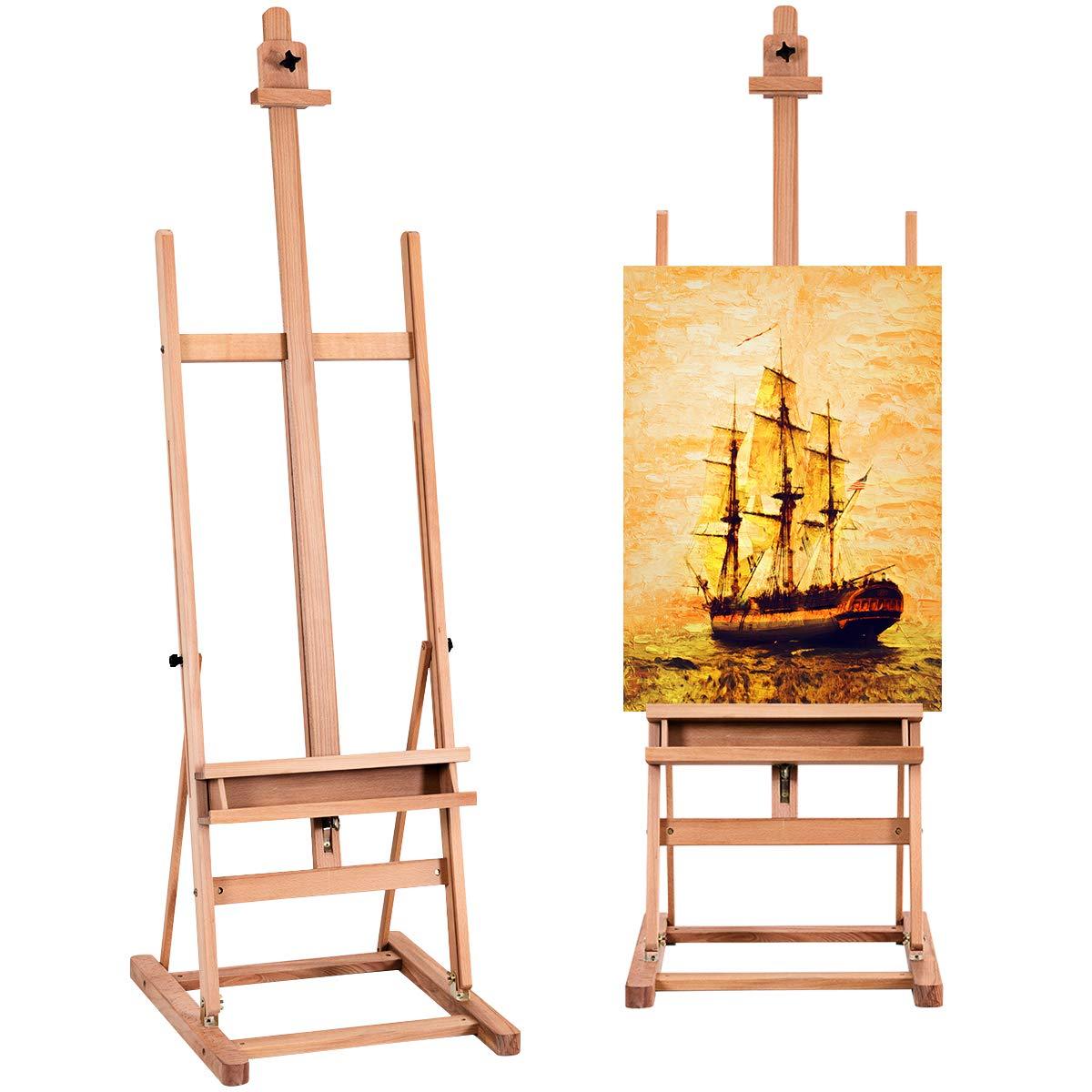 TANGKULA H-Frame Easel Wooden Height and Angle Adjustable Foldable Tilting Floor Studio Artist Easel Painting, Sketching, Display