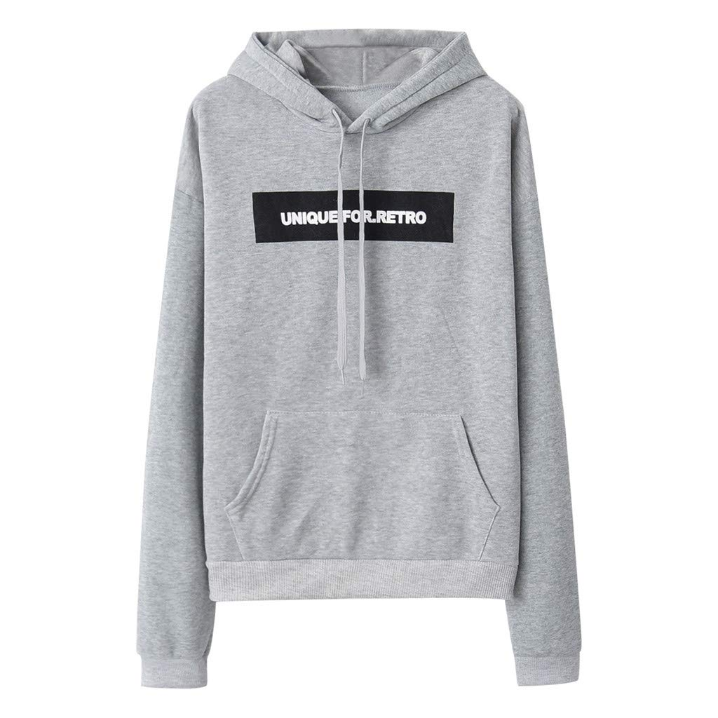 Pumsun Women's UNIQUEFOR.Retro Letter Printing Long Sleeve Hooded Guard Sweatshirt Pullover (Gray, M)