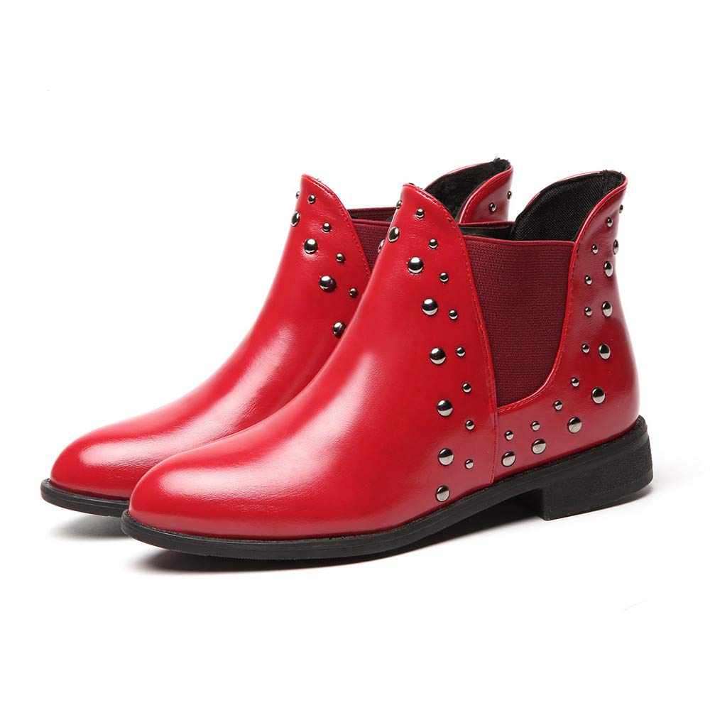 Boots For Women, Clearance Sale !! Farjing Casual Rivets Shoes Keep Warm Boot Leather Flat Ankle Boots Martin Boots(US:7,Red) by Farjing (Image #6)