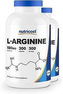 Nutricost L-Arginine 500mg, 300 Capsules (2 Bottles)