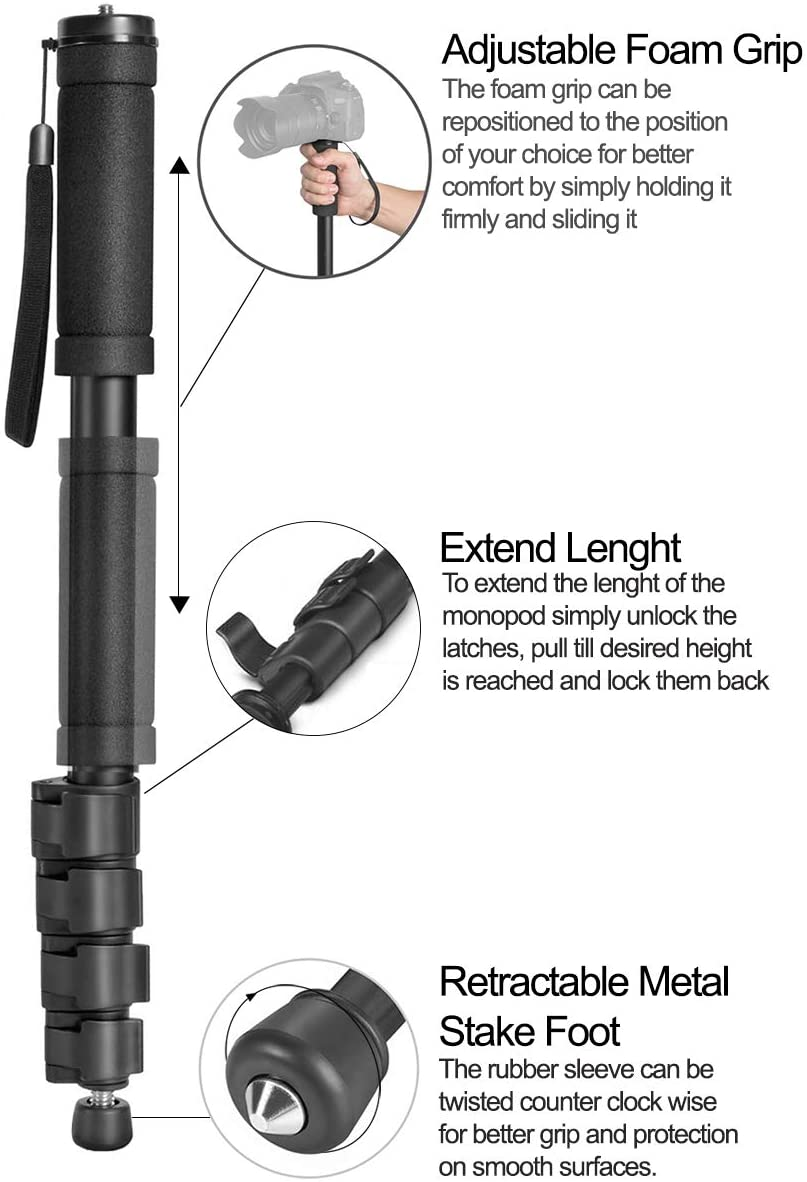 Dual Optional Head Professional Heavy Duty 72 Monopod//Unipod for Sony Sonnar T FE 55mm f//1.8 ZA