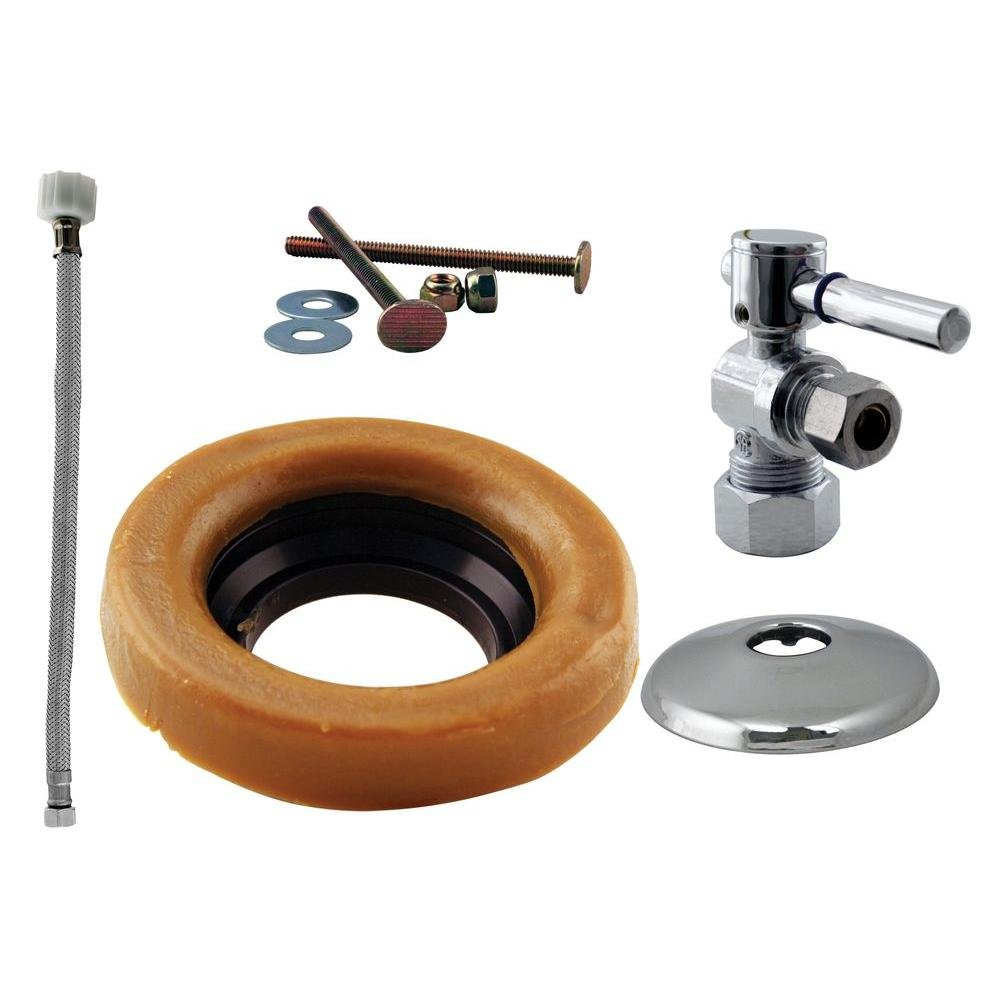 D1612TBL-26 Polished Chrome Westbrass 1//2 Nominal Compression Lever Handle Angle Stop Toilet Installation Kit with Steel Supply Line