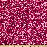 Art Gallery Fabrics Fusion Jersey Knit Let's Joyful Fabric by the Yard, Chalk