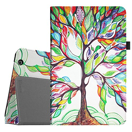 Fintie Folio Case for Dragon Touch V10 10-Inch Android Tablet, Slim Fit Premium PU Leather Stand Cover with Stylus Holder, Love Tree
