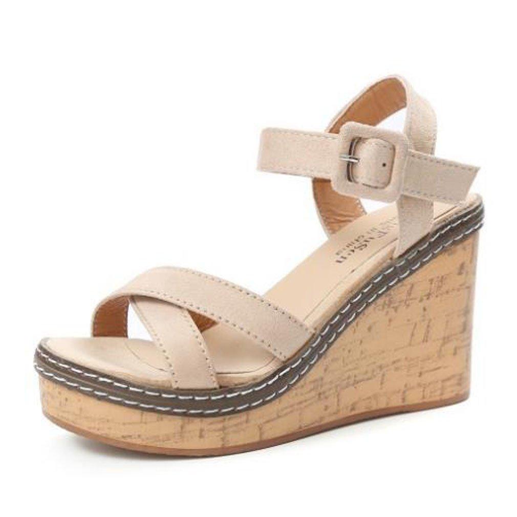 Xianshu Nouveau des Talon compensé Talon Simple Beige avec des Chaussures de Daim de la Mode des Femmes Sandales Confortables Beige 7ac07af - fast-weightloss-diet.space