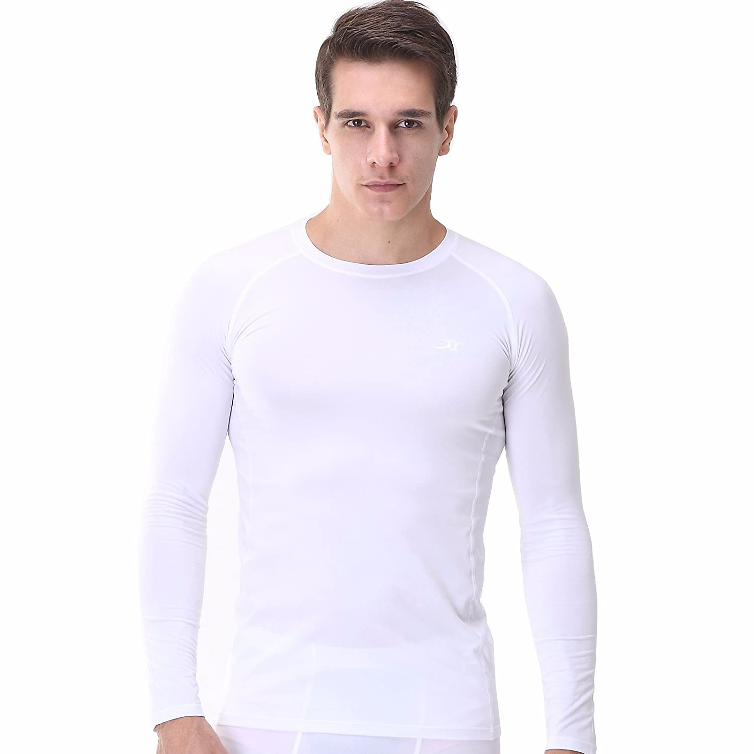 Mens Compression Long Sleeve Shirt Top Base Layer T Shirts for Fitness Running LS Henri maurice