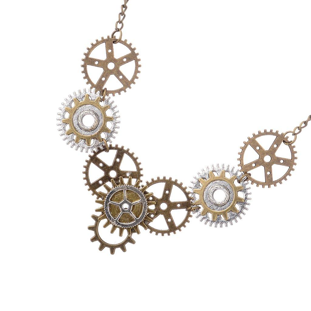 Homyl 2Pcs Fashion Multicolor Alloy Gears Wings Pendant Necklace for Couple Choker