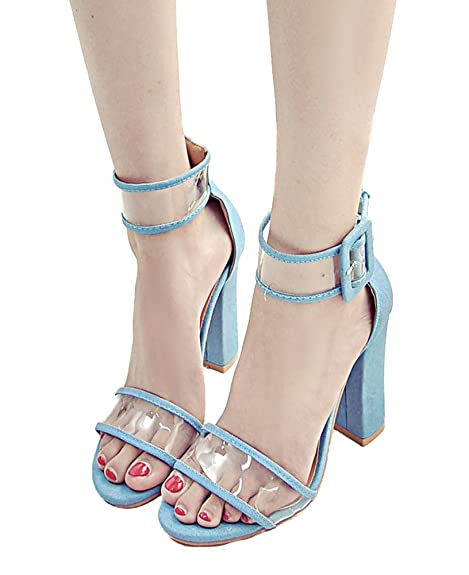 1f0e449677ea1c MayBest Women Summer Sexy Open Toe Shoes Sandal High Chunky Heel Sandals  with Transparent Ankle Strap