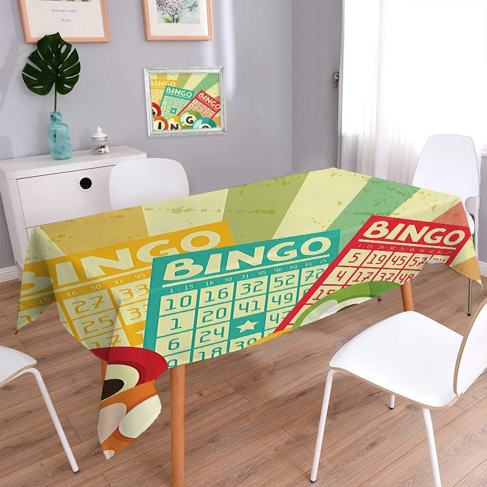 Washable Cotton Linen Fabric Bingo Game with Ball and Cards Pop Art Stylized Lottery Hobby Celebration Theme Resistant and Waterproof Tablecloths for Dining Room