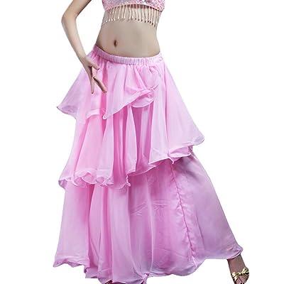 Women's Belly Dance Long Skirt Chiffon Tiered Maxi Skirt Dress