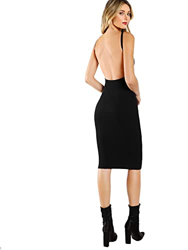 e183b9a34c MAKEMECHIC Women s Sleeveless Open Back Knit Sexy Midi Bodycon Dress at Amazon  Women s Clothing store