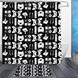 HOMESTORES Shower Curtains With Hooks and bath rug mat - Video Game Weapon Funny Gamer Bath Curtain Liner - Waterproof Polyester Fabric Bathroom Decor Set - 72x72/18x36