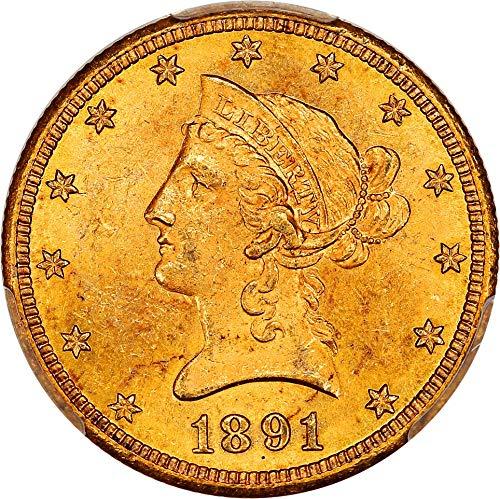- 1891 CC $10 Liberty Gold Ten Dollar MS63 PCGS