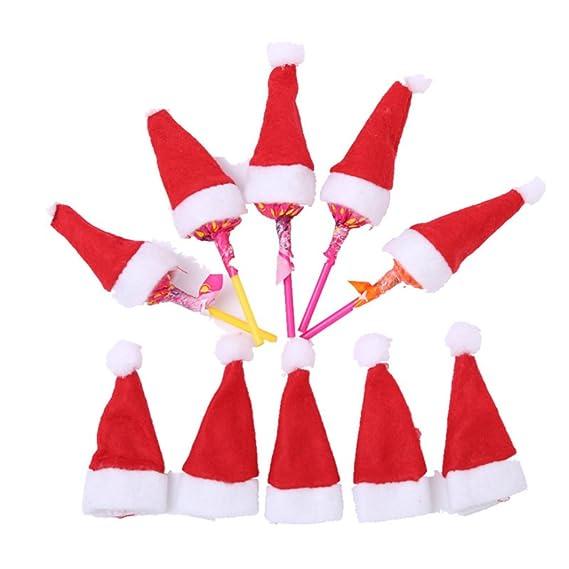 OULII 10pcs Mini sombrero de Navidad para la decoración de ...