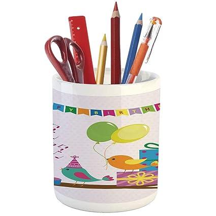 Pencil Pen HolderBirthday Decorations For KidsPrinted Ceramic Holder Desk