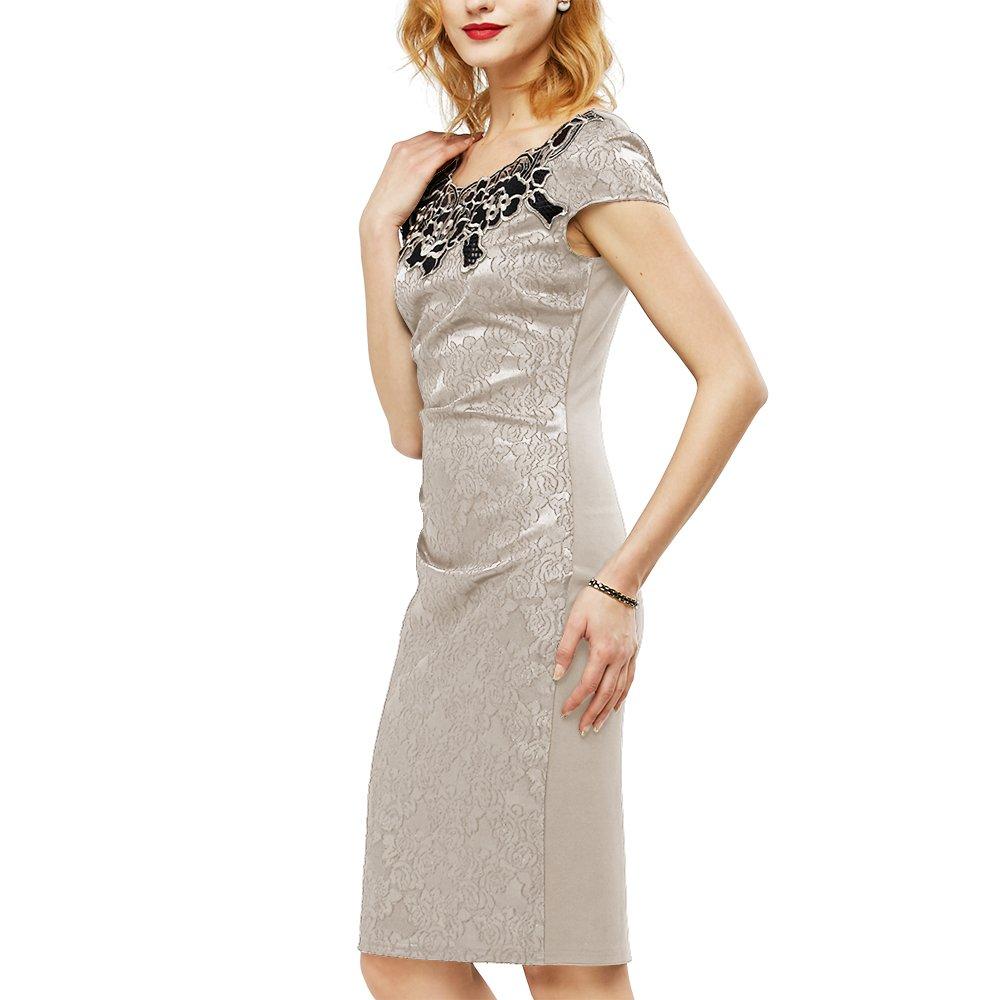 Kenancy -- Vestido para mujeres (Vintage, Bordado patrón y plegado, Tela Dobby Delicada, Lápiz, Traje, Elegante, Fiesta, Fecha, Cóctel)Caqui claro, ...