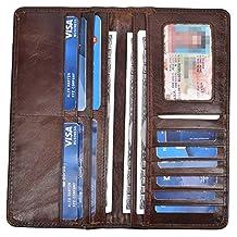 Yeeasy Men's Vintage Genuine Leather Long Wallets Bifold Wallet For Men (Coffee)
