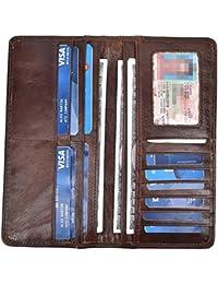 Men's Vintage Genuine Leather Long Wallets Bifold Wallet For Men