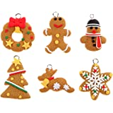 6/Pcs Christmas Tree Hanging Ornament Polymer Clay Pendants Decoration