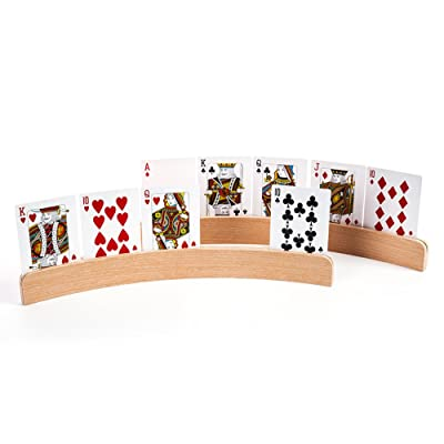 GAMELAND Panorama Wooden Playing Card Holders in Curved Design - Set of 4: Sports & Outdoors
