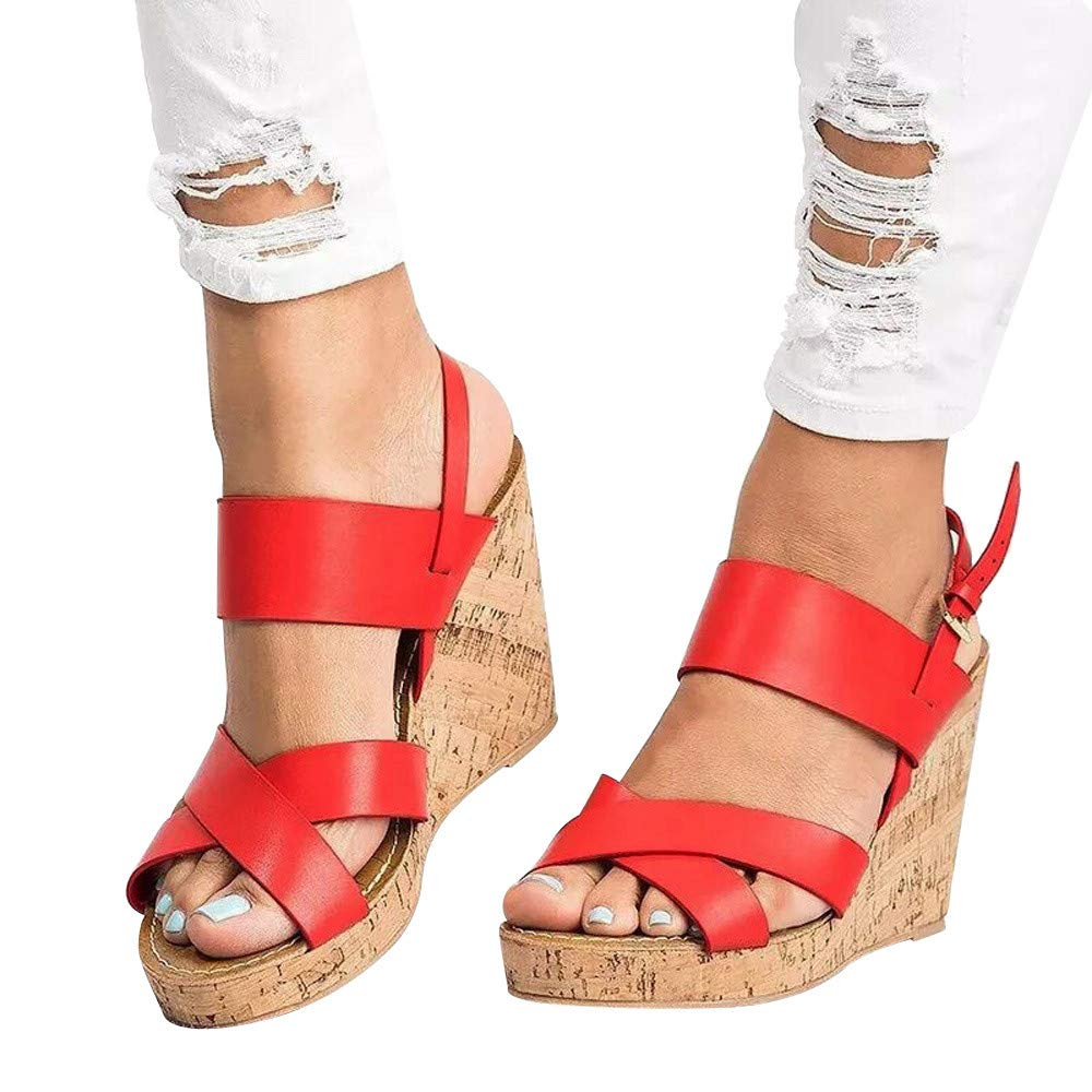 Sandals For Women, Clearance Sale !! Farjing Peep Toe Breathable Beach Sandals Boho Bukcle Strap Casual Wedges Shoes(US:6.5,Red)
