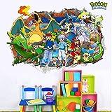 3D Wall Decal Children Themed Art Wall Sticker Home Decor Art Kids (Pokemon)