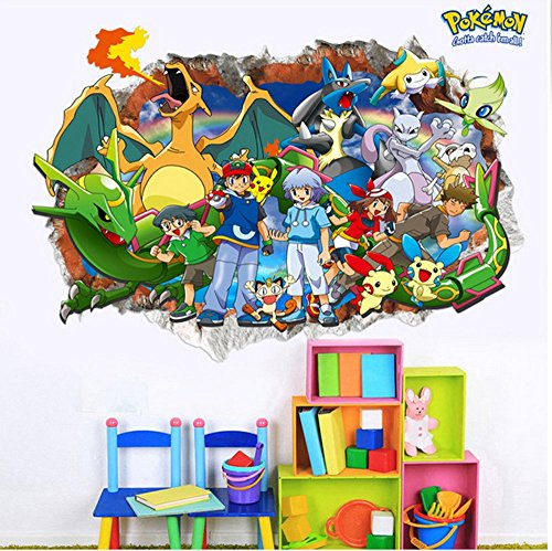 3D Wall Decal Children Themed Art Wall Sticker Home Decor Art Kids (Pokemon)