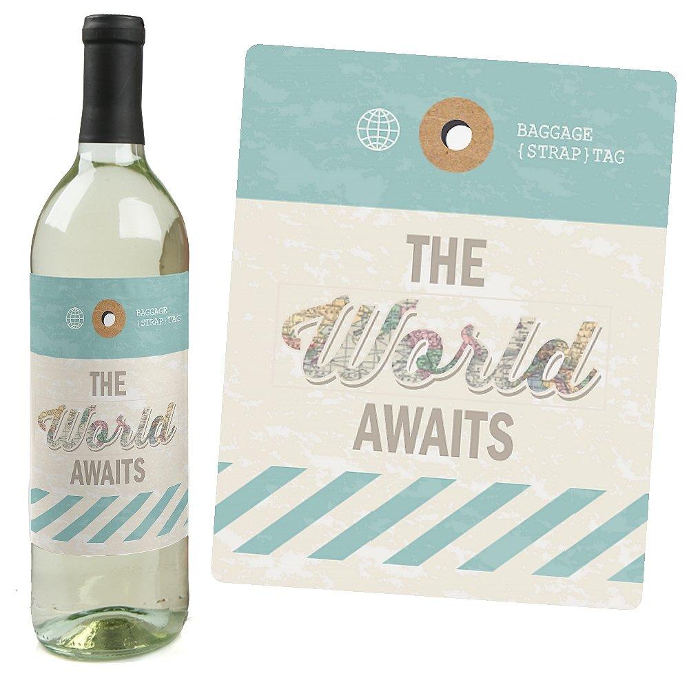 Amazon.com   World Awaits - Travel Theme Wine Bottle Labels - Set of ...