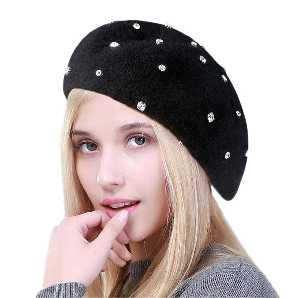 a80e477d324 BSGSH Womens Hats French Style Beret Artist Hat Rhinestone Beading Winter  Hat for Women Girls (Black) at Amazon Women s Clothing store