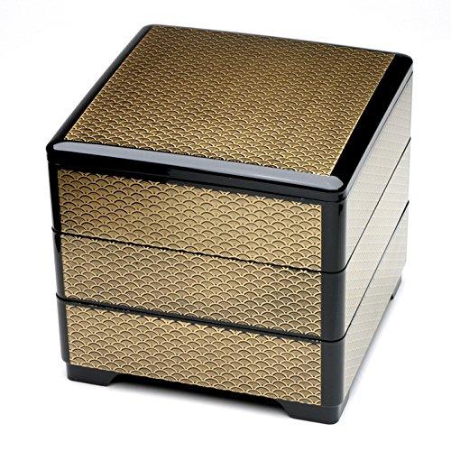 Kotobuki Japanese Jubako Lacquer Box, 3-Tiered, Black/Gol...