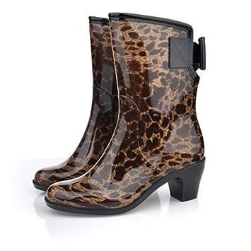 9a7caae21a9 Y&JAXIE Botas de lluvia de taco alto / botas de lluvia para damas / zapatos  de lluvia: Amazon.es: Deportes y aire libre