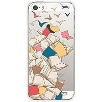 Capa Personalizada Livros Voando, Husky para iPhone SE / 5 / 5S, Capa Protetora para Celular, Multicor