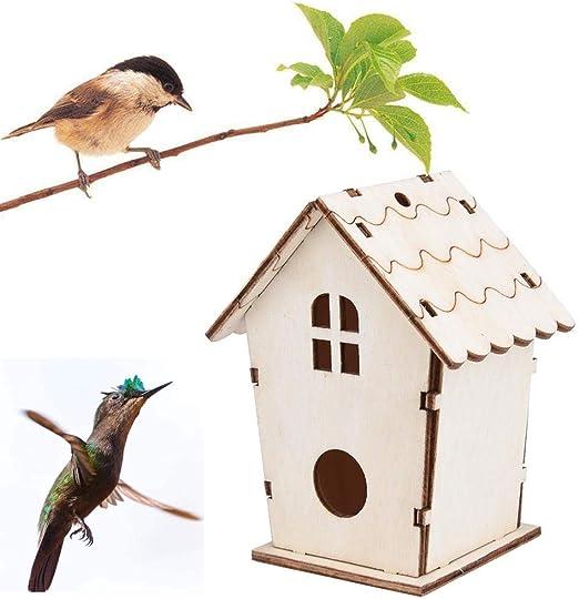 Casas Para Pájaros Nidos Para Pájaros Nest House Casa De Madera Para Pájaros Casa Colgante Cajas De Anidación De Pájaros Loop Home Garden Yard Decoration Caja De Madera Accesorios Para Mascotas: Amazon.es: