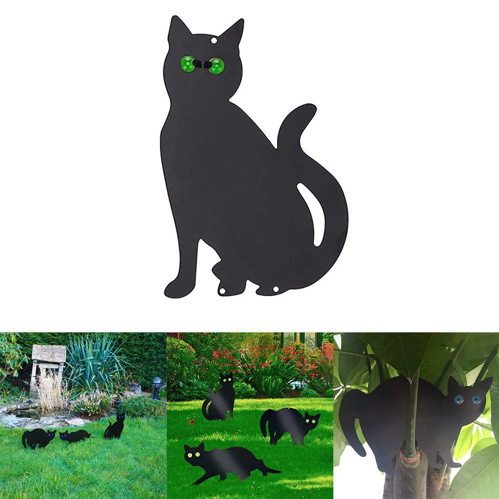 Animal Black Powder Coated Metal Cat Scarer Silueta Ojos Disuasivos Gatos Roedores P/ájaros Repelentes P/ájaro Zorro Control de Plagas Humanas Donpow Garden Scare Cat