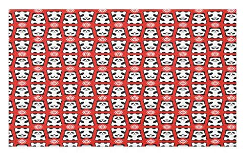 Lunarable Panda Doormat, Abstract Indigenous Chinese Bears with Flowers Cartoon Characters Minimal Design, Decorative Polyester Floor Mat with Non-Skid Backing, 30 W X 18 L Inches, Red Black White
