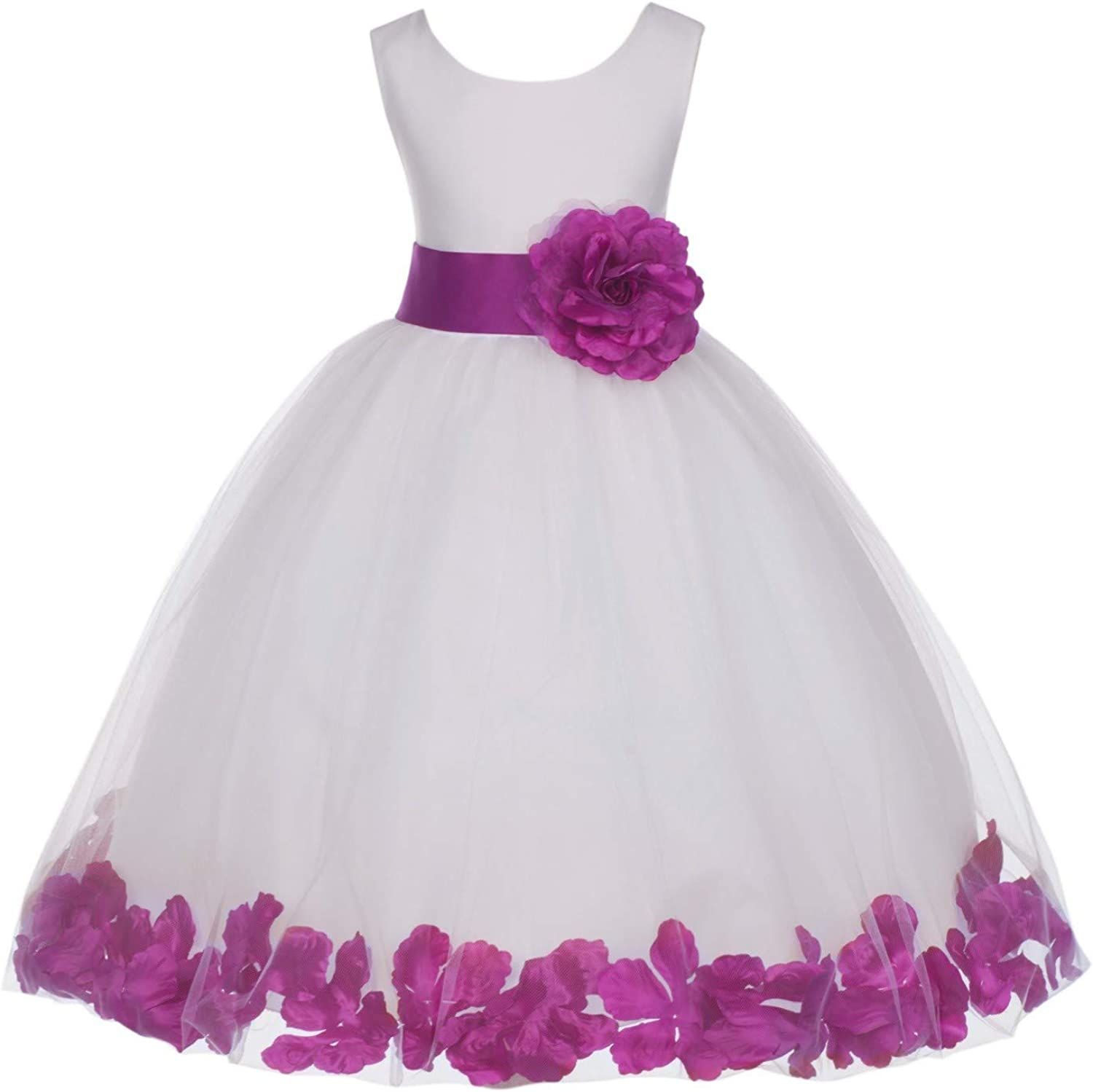 Ivory Tulle Rose Floral Petals Toddler Flower Girl Dresses Bridal Gown 302T