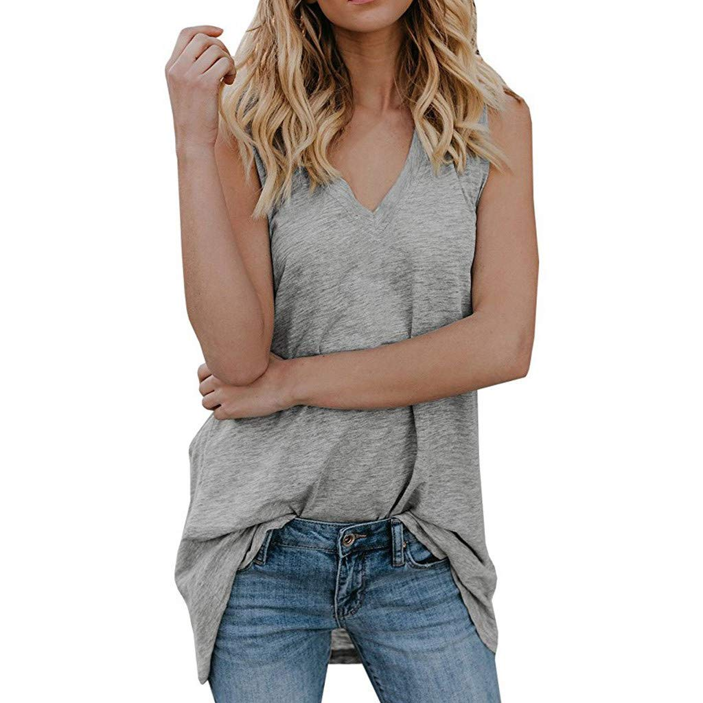 DAYPLAY Womens Tank Tops V Neck Sleeveless Casual Summer Loose Fit VestTunic Shirts 2019 Sale Summer Gray