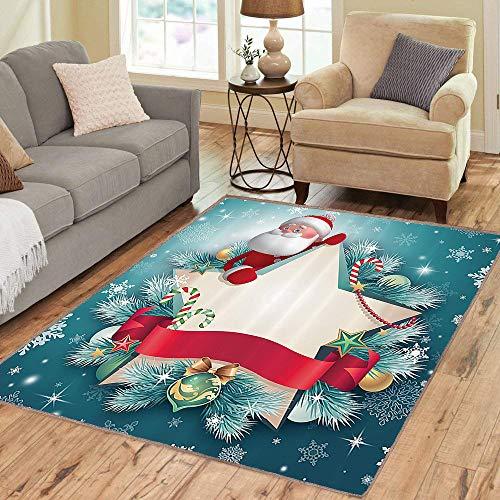6760 Rubber (Rug,FloorMatRug,Christmas,AreaRug,Santa Claus Star Banner Snowflakes Ribbon and Candy Cane Tree Winter Season Theme,Home mat,5'8